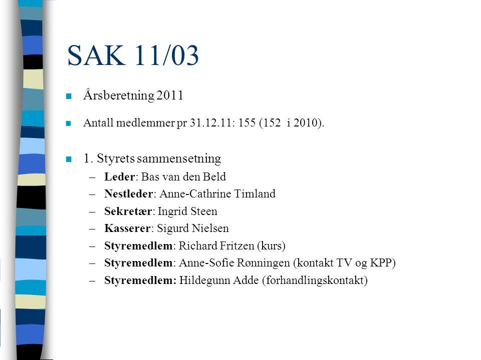 SAK 11/03 n Årsberetning 2011 n Antall medlemmer pr 31.12.11: 155 (152 i 2010).