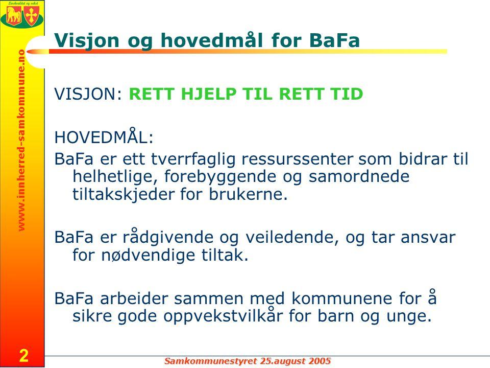 Samkommunestyret 25.august 2005 www.innherred-samkommune.no 3 OPPDRAGET FOR BAFA ISK Levanger Verdal P H B B H P H B P