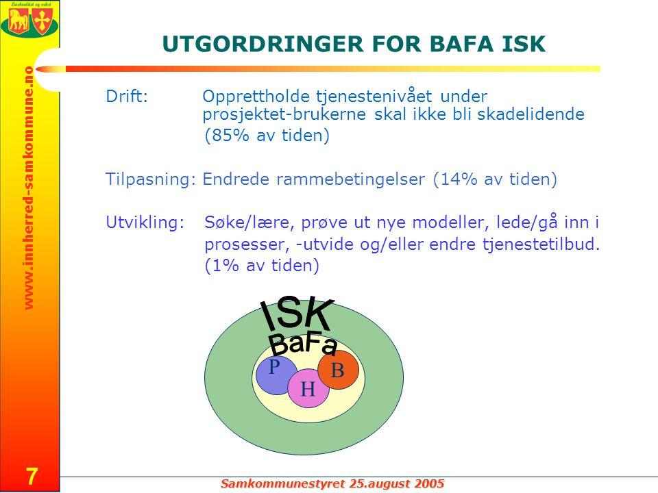 Samkommunestyret 25.august 2005 www.innherred-samkommune.no 8 OPPDRAGET FOR BAFA ISK H B P Rett hjelp til rett tid for målgrupper/brukere plan
