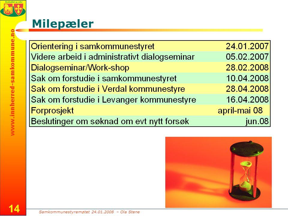 Samkommunestyremøtet 24.01.2008 – Ola Stene www.innherred-samkommune.no 14 Milepæler