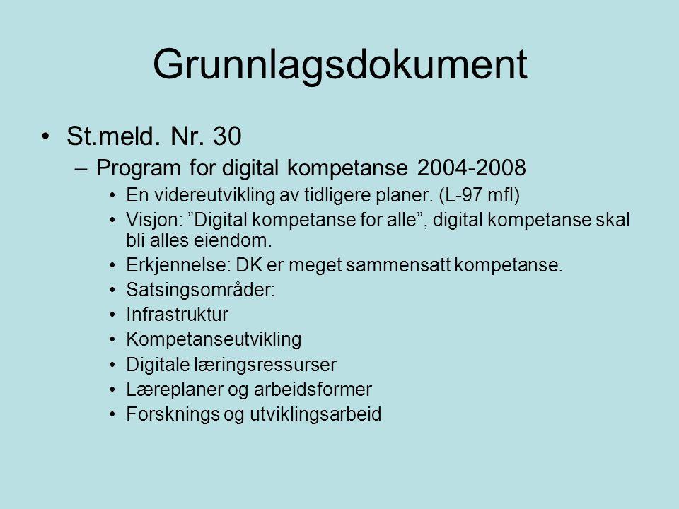 """Grunnlagsdokument St.meld. Nr. 30 –Program for digital kompetanse 2004-2008 En videreutvikling av tidligere planer. (L-97 mfl) Visjon: """"Digital kompet"""