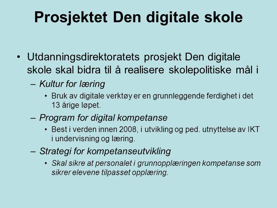 Prosjektet Den digitale skole Utdanningsdirektoratets prosjekt Den digitale skole skal bidra til å realisere skolepolitiske mål i –Kultur for læring B