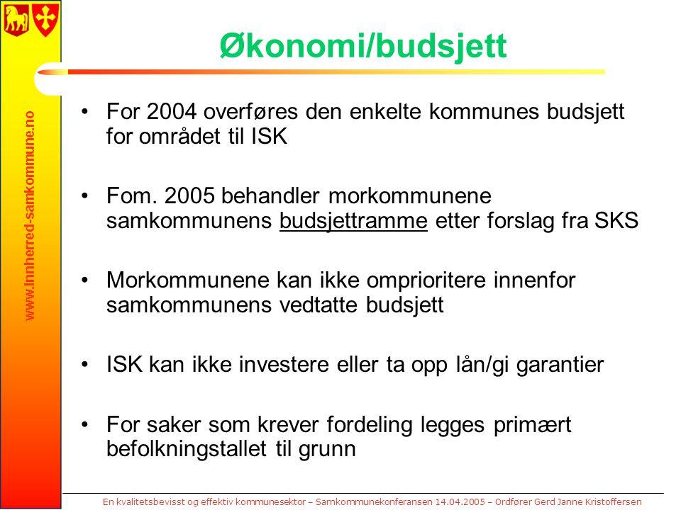 www.innherred-samkommune.no En kvalitetsbevisst og effektiv kommunesektor – Samkommunekonferansen 14.04.2005 – Ordfører Gerd Janne Kristoffersen Økono