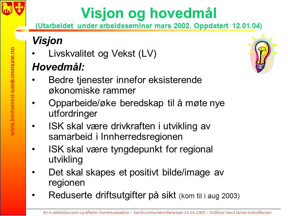 www.innherred-samkommune.no En kvalitetsbevisst og effektiv kommunesektor – Samkommunekonferansen 14.04.2005 – Ordfører Gerd Janne Kristoffersen Visjo