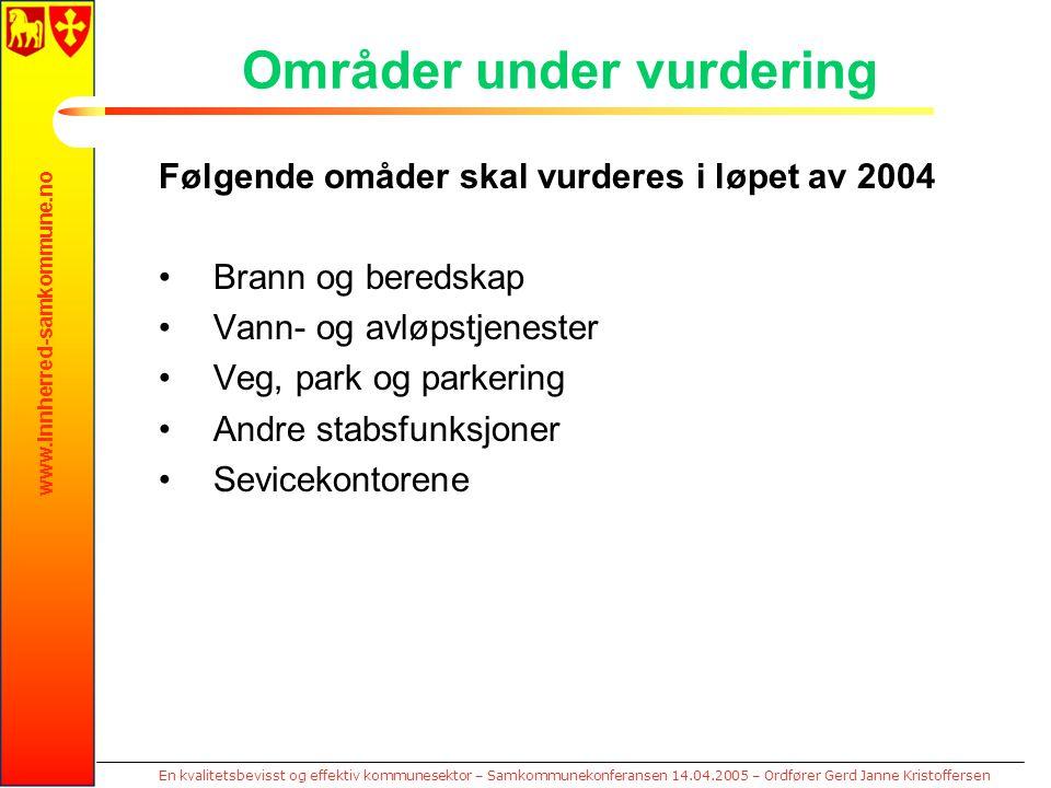 www.innherred-samkommune.no En kvalitetsbevisst og effektiv kommunesektor – Samkommunekonferansen 14.04.2005 – Ordfører Gerd Janne Kristoffersen Områd