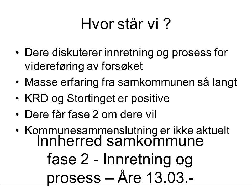 Innherred samkommune fase 2 - Innretning og prosess – Åre 13.03.- 14.03.07 - Geir Vinsand og Jørund K Nilsen, NIVI Analyse Hvor står vi ? Dere diskute
