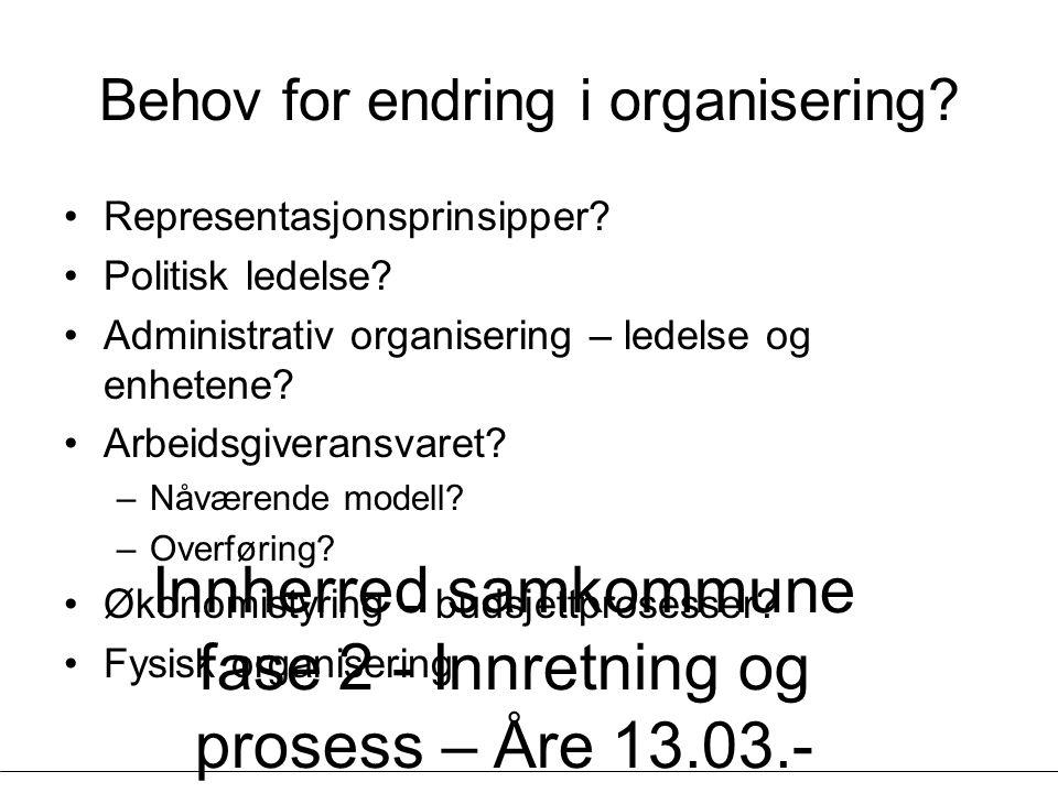 Innherred samkommune fase 2 - Innretning og prosess – Åre 13.03.- 14.03.07 - Geir Vinsand og Jørund K Nilsen, NIVI Analyse Behov for endring i organisering.