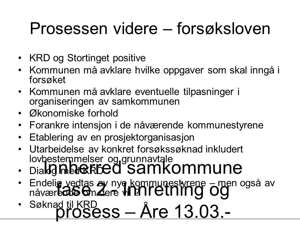 Innherred samkommune fase 2 - Innretning og prosess – Åre 13.03.- 14.03.07 - Geir Vinsand og Jørund K Nilsen, NIVI Analyse Prosessen videre – forsøksl