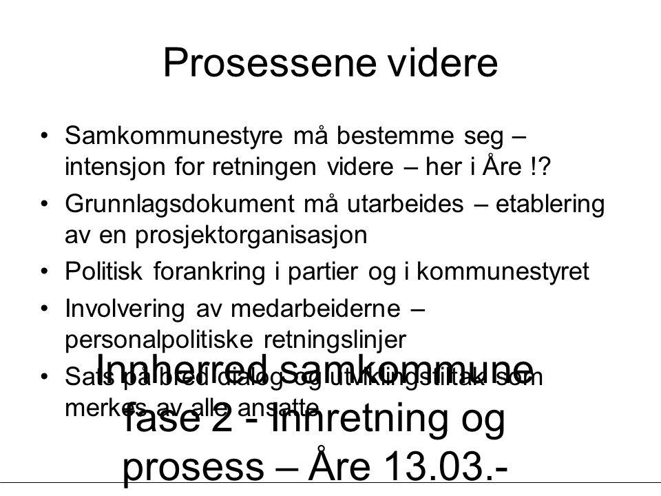 Innherred samkommune fase 2 - Innretning og prosess – Åre 13.03.- 14.03.07 - Geir Vinsand og Jørund K Nilsen, NIVI Analyse Prosessene videre Samkommunestyre må bestemme seg – intensjon for retningen videre – her i Åre !.