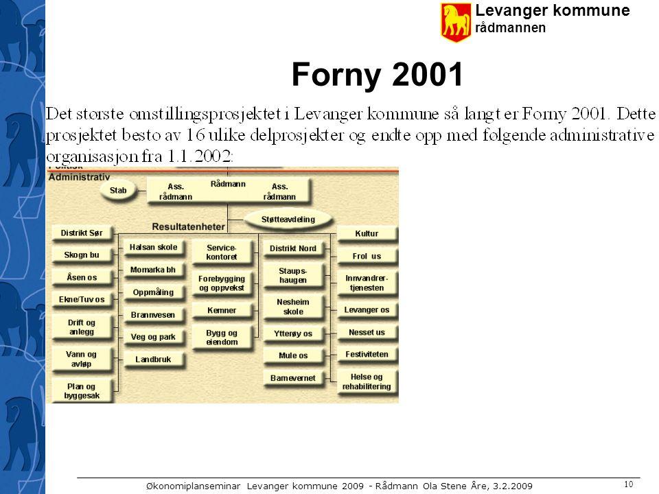 Levanger kommune rådmannen Økonomiplanseminar Levanger kommune 2009 - Rådmann Ola Stene Åre, 3.2.2009 10 Forny 2001