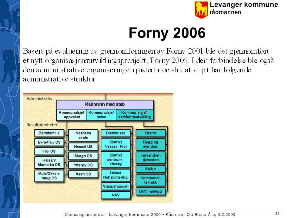 Levanger kommune rådmannen Økonomiplanseminar Levanger kommune 2009 - Rådmann Ola Stene Åre, 3.2.2009 11 Forny 2006