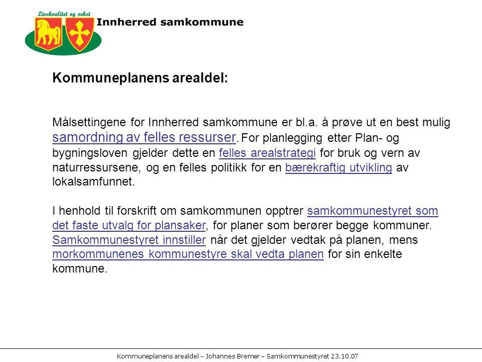 Kommuneplanens arealdel – Johannes Bremer – Samkommunestyret 23.10.07 Planprogram: Framlagt for høring og offentlig ettersyn – februar 2007, Høring minimum 6 uker – frist 4.