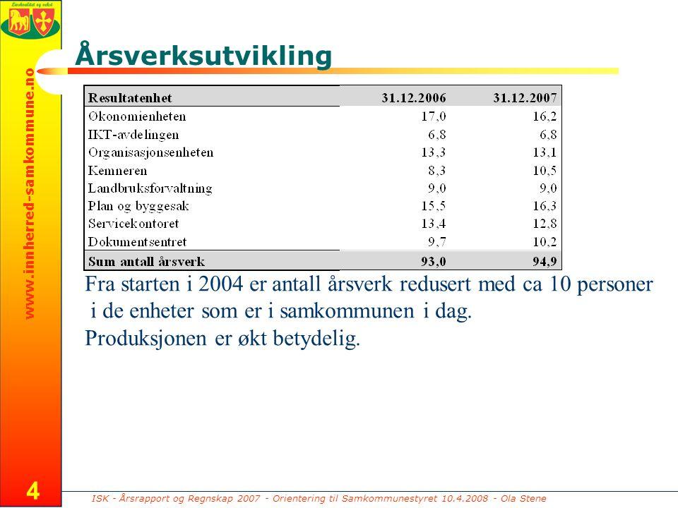 ISK - Årsrapport og Regnskap 2007 - Orientering til Samkommunestyret 10.4.2008 - Ola Stene www.innherred-samkommune.no 4 Årsverksutvikling Fra starten i 2004 er antall årsverk redusert med ca 10 personer i de enheter som er i samkommunen i dag.