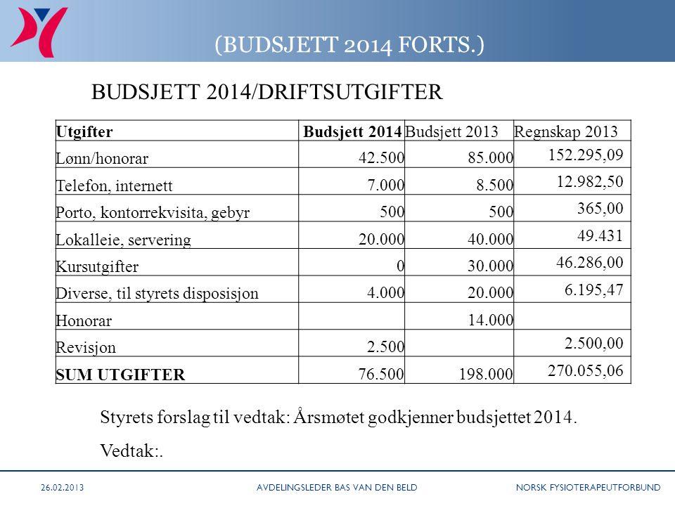 NORSK FYSIOTERAPEUTFORBUND (BUDSJETT 2014 FORTS.) BUDSJETT 2014/DRIFTSUTGIFTER Styrets forslag til vedtak: Årsmøtet godkjenner budsjettet 2014.