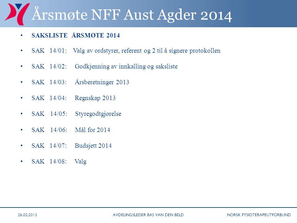 NORSK FYSIOTERAPEUTFORBUND SAK 14/01 Valg av ordstyrer, referent og 2 til å signere protokollen.