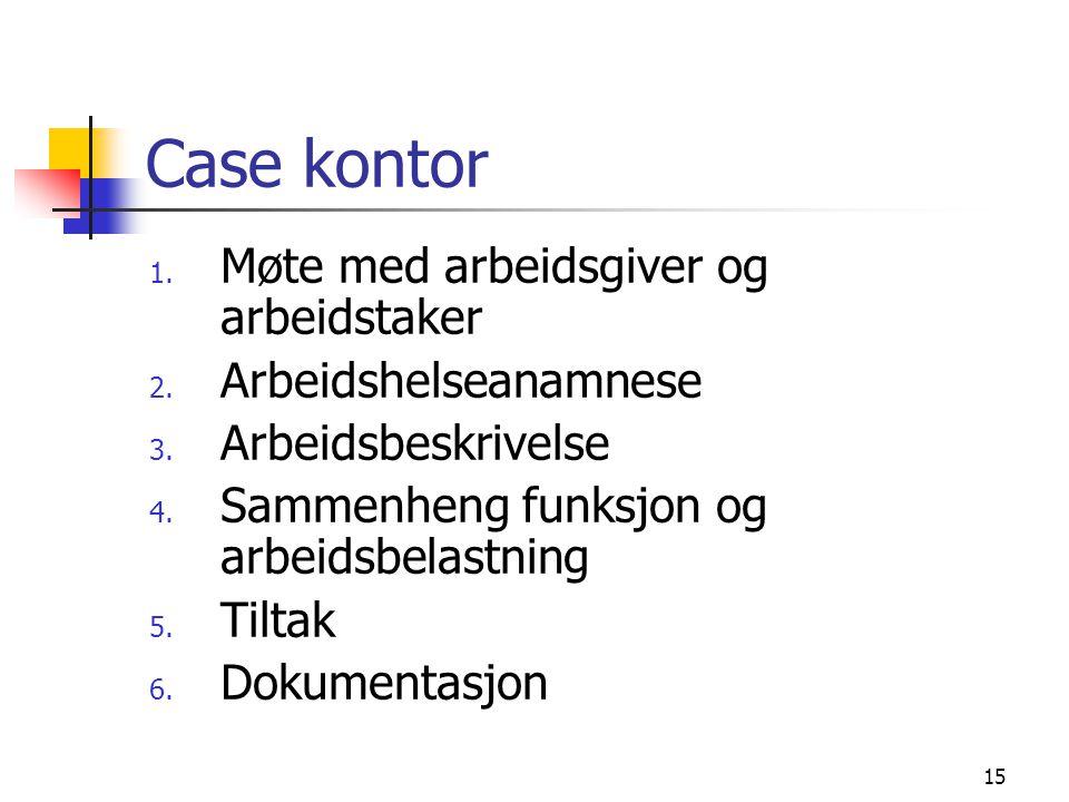 15 Case kontor 1. Møte med arbeidsgiver og arbeidstaker 2. Arbeidshelseanamnese 3. Arbeidsbeskrivelse 4. Sammenheng funksjon og arbeidsbelastning 5. T