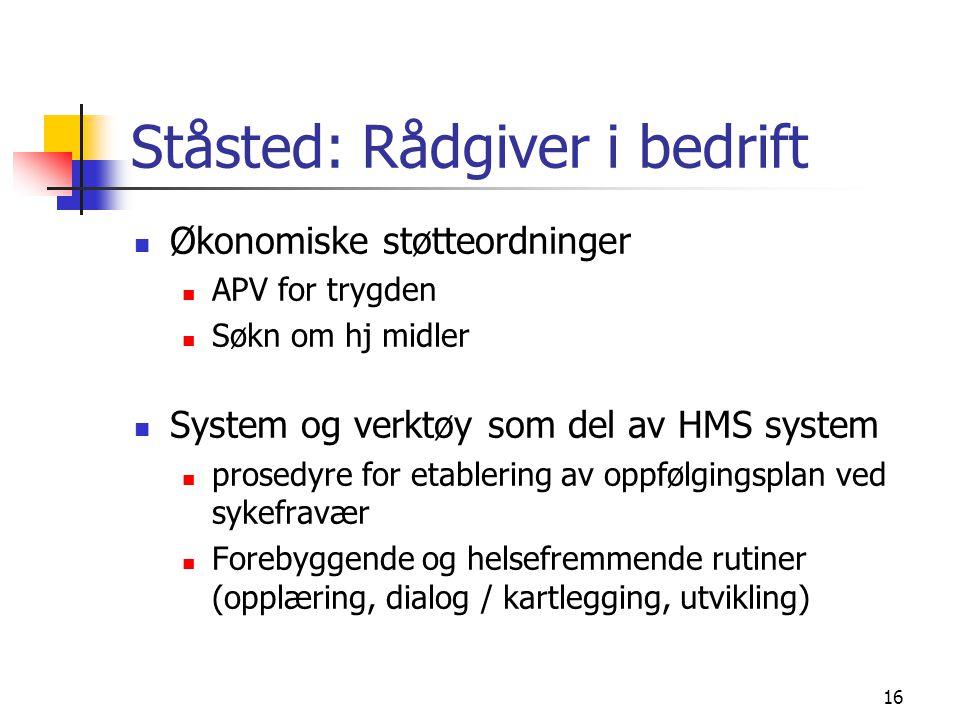 16 Ståsted: Rådgiver i bedrift Økonomiske støtteordninger APV for trygden Søkn om hj midler System og verktøy som del av HMS system prosedyre for etab