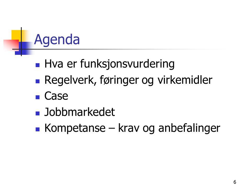 6 Agenda Hva er funksjonsvurdering Regelverk, føringer og virkemidler Case Jobbmarkedet Kompetanse – krav og anbefalinger