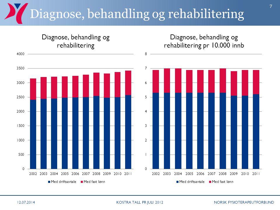 NORSK FYSIOTERAPEUTFORBUND Diagnose, behandling og rehabilitering KOSTRA TALL PR JULI 201212.07.2014 7
