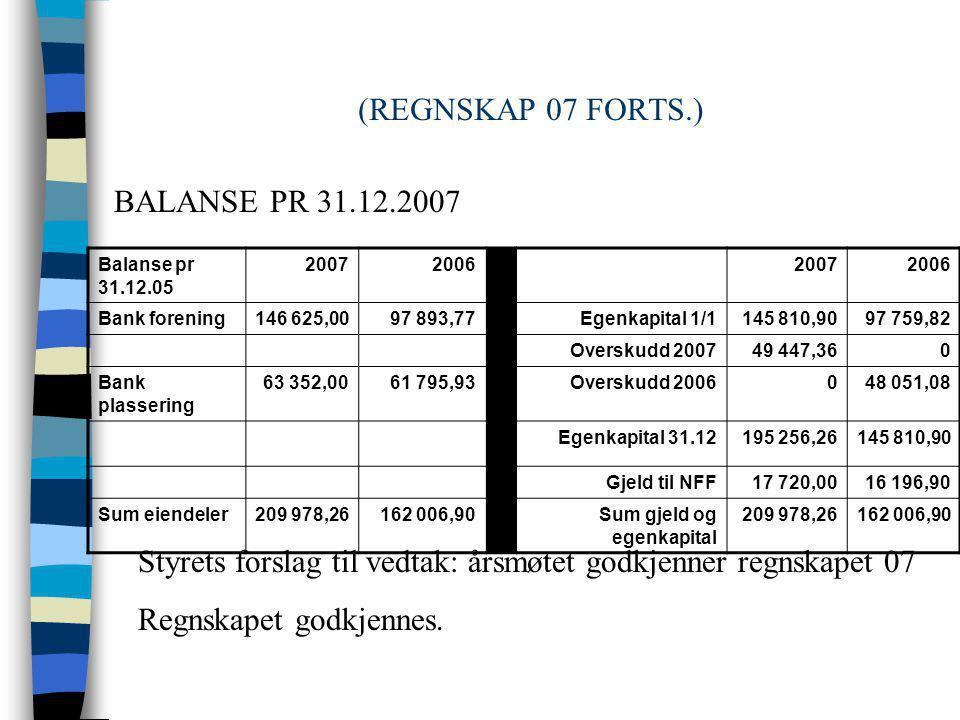 (REGNSKAP 07 FORTS.) ÅR 2007 2006 RESULTAT 49 447,36 48 051,08 RESULTAT 2007