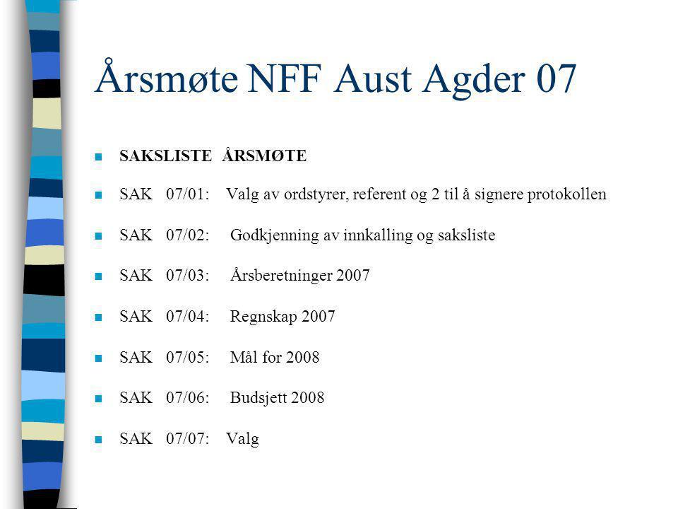 ÅRSMØTE 2007 Norsk Fysioterapeut Forbund AVDELING AUST-AGDER Hjertelig velkommen!