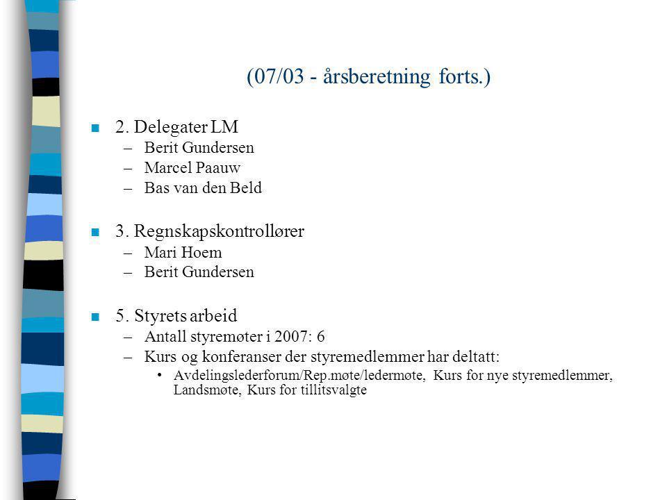 SAK 07/03 n Årsberetning 2007 n Antall medlemmer pr 31.12.07: 148 (132 i 2006) n 1. Styrets sammensetning –Leder:Bas van den Beld –Nestleder: Berit Gu