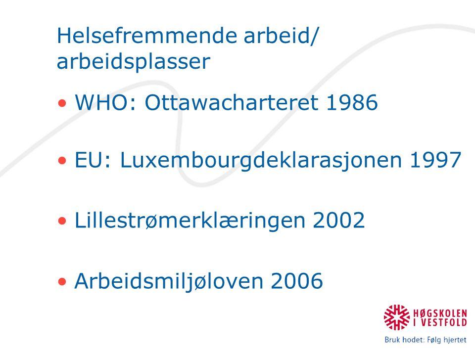Helsefremmende arbeid/ arbeidsplasser WHO: Ottawacharteret 1986 EU: Luxembourgdeklarasjonen 1997 Lillestrømerklæringen 2002 Arbeidsmiljøloven 2006
