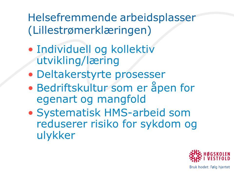 Helsefremmende arbeidsplasser (Lillestrømerklæringen) Individuell og kollektiv utvikling/læring Deltakerstyrte prosesser Bedriftskultur som er åpen for egenart og mangfold Systematisk HMS-arbeid som reduserer risiko for sykdom og ulykker