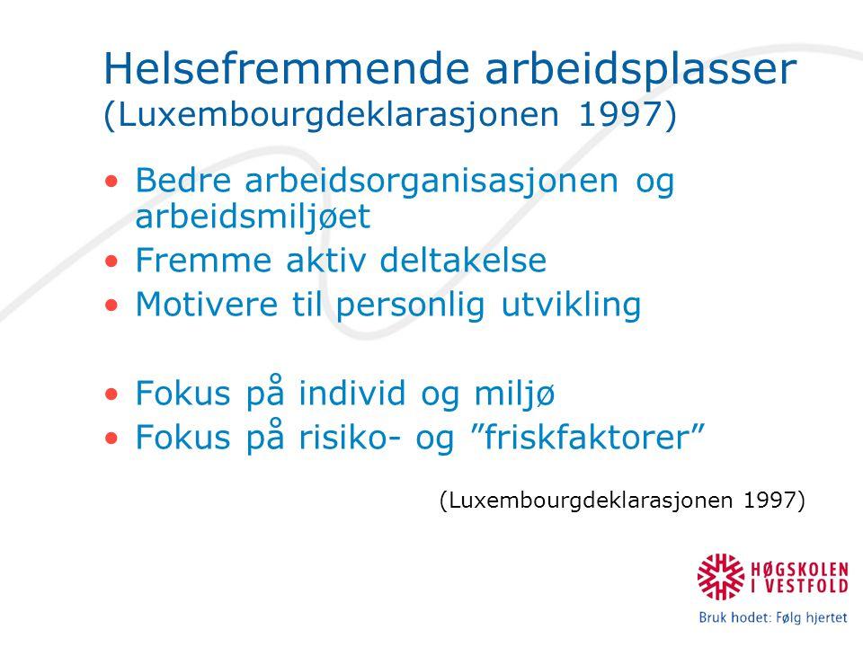 Helsefremmende arbeidsplasser (Luxembourgdeklarasjonen 1997) Bedre arbeidsorganisasjonen og arbeidsmiljøet Fremme aktiv deltakelse Motivere til personlig utvikling Fokus på individ og miljø Fokus på risiko- og friskfaktorer (Luxembourgdeklarasjonen 1997)