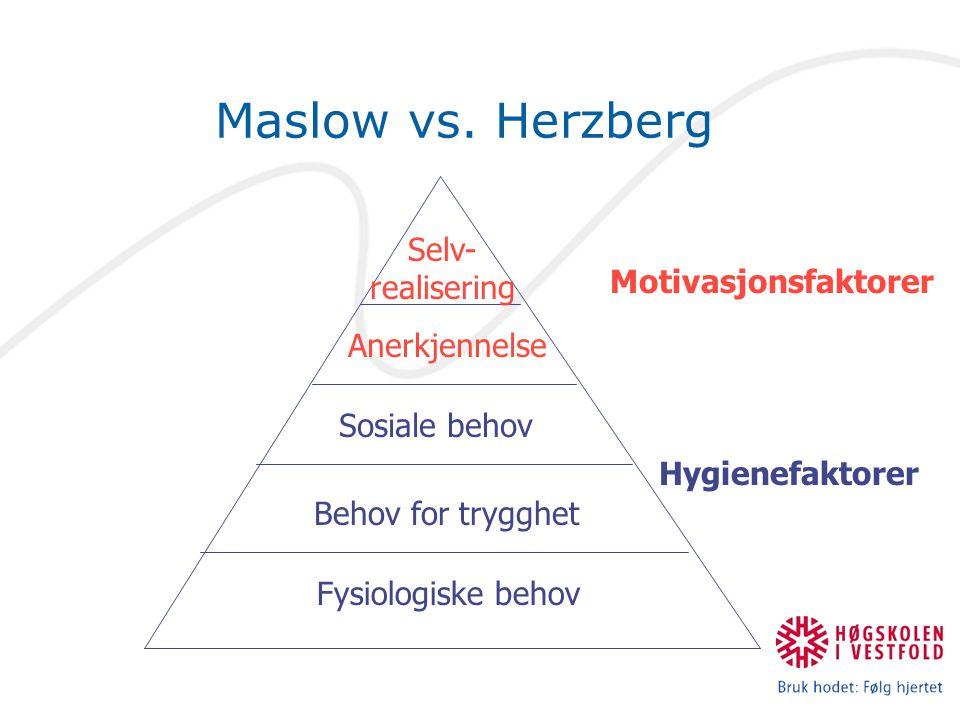 Maslow vs. Herzberg Fysiologiske behov Behov for trygghet Sosiale behov Anerkjennelse Selv- realisering Motivasjonsfaktorer Hygienefaktorer