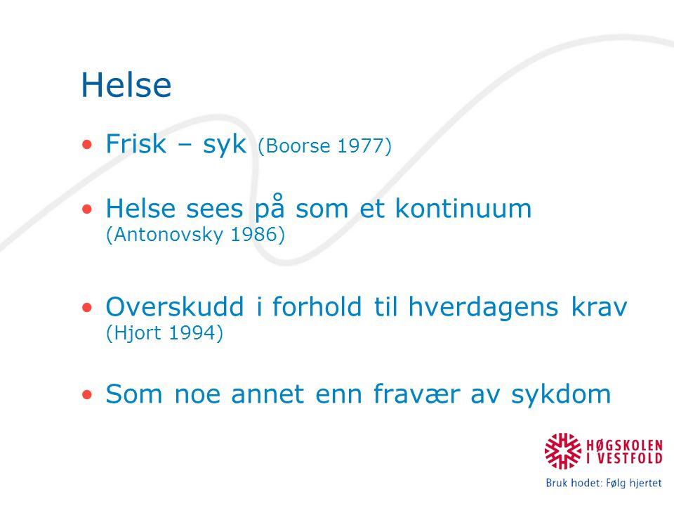 Helse Frisk – syk (Boorse 1977) Helse sees på som et kontinuum (Antonovsky 1986) Overskudd i forhold til hverdagens krav (Hjort 1994) Som noe annet enn fravær av sykdom