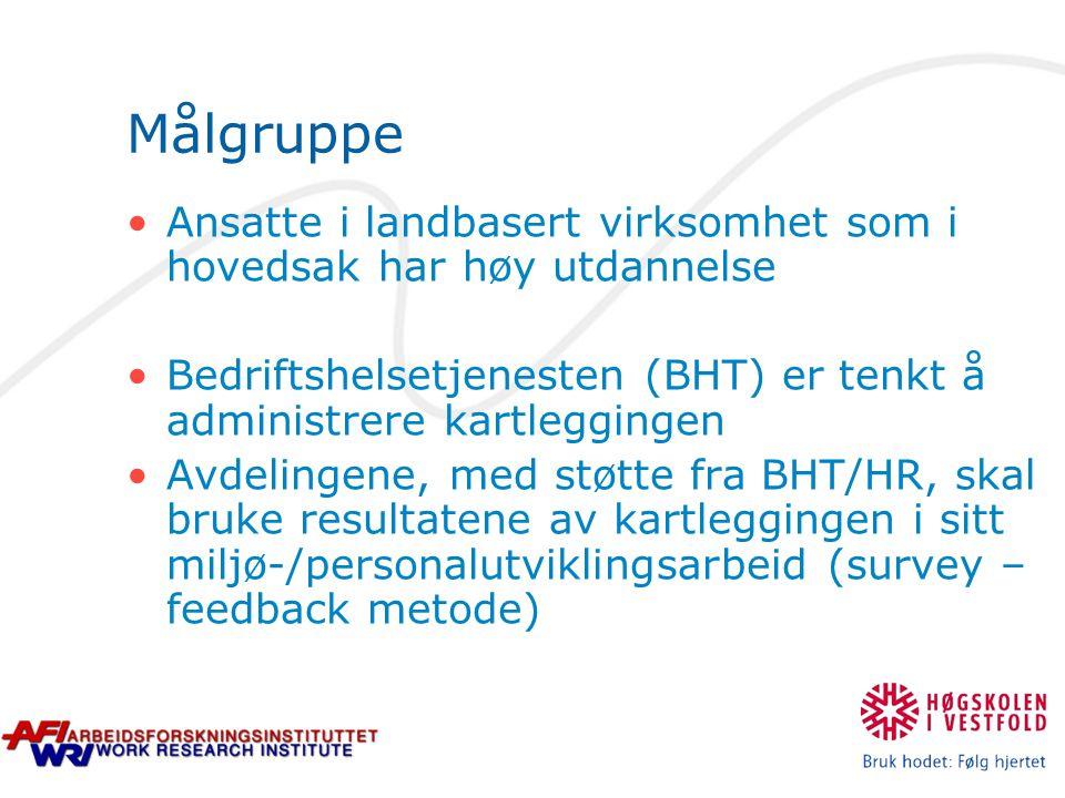 Målgruppe Ansatte i landbasert virksomhet som i hovedsak har høy utdannelse Bedriftshelsetjenesten (BHT) er tenkt å administrere kartleggingen Avdelingene, med støtte fra BHT/HR, skal bruke resultatene av kartleggingen i sitt miljø-/personalutviklingsarbeid (survey – feedback metode)