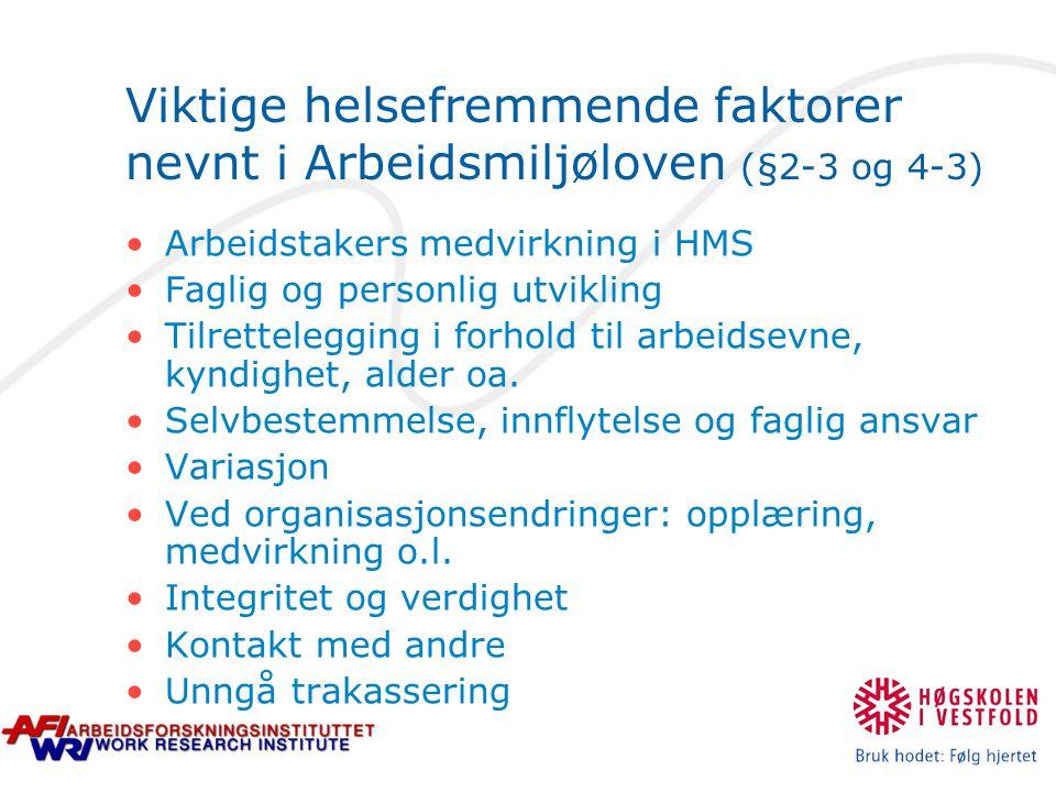 Viktige helsefremmende faktorer nevnt i Arbeidsmiljøloven (§2-3 og 4-3) Arbeidstakers medvirkning i HMS Faglig og personlig utvikling Tilrettelegging i forhold til arbeidsevne, kyndighet, alder oa.