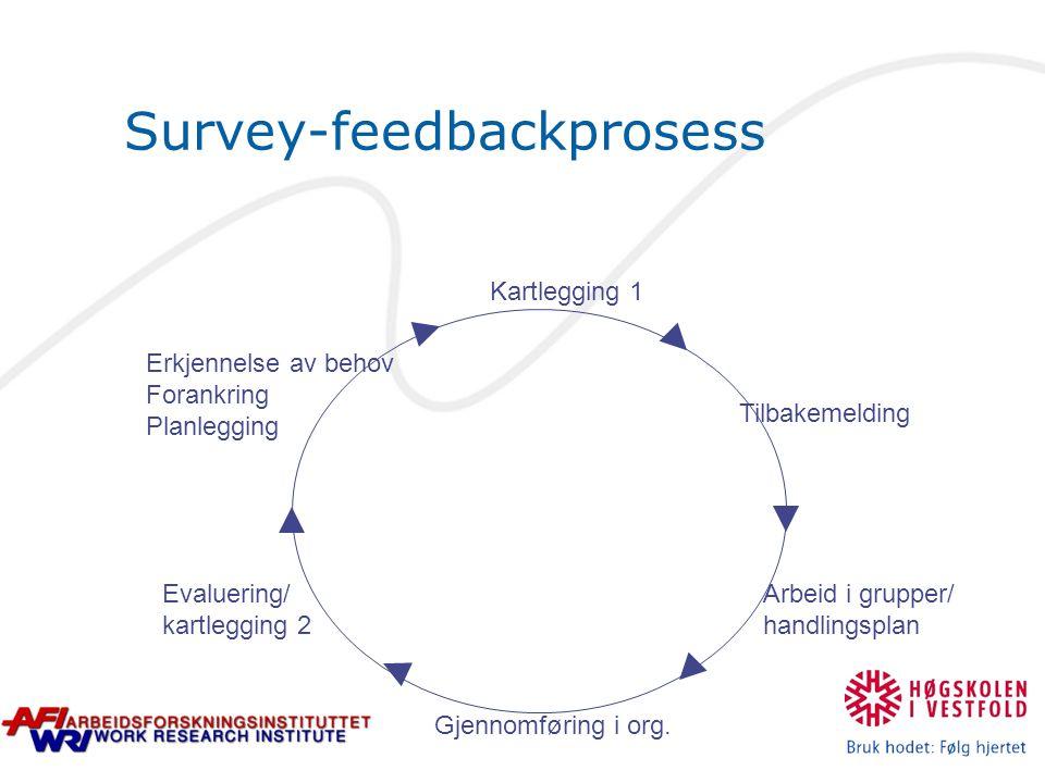 Survey-feedbackprosess Erkjennelse av behov Forankring Planlegging Kartlegging 1 Tilbakemelding Arbeid i grupper/ handlingsplan Gjennomføring i org. E