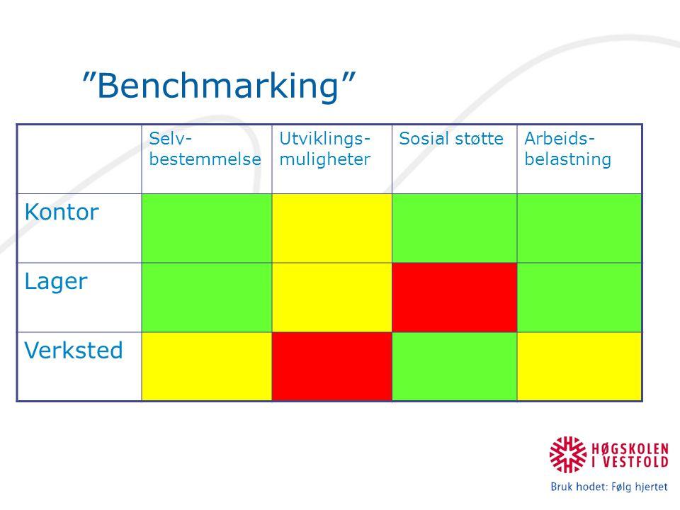 """""""Benchmarking"""" Selv- bestemmelse Utviklings- muligheter Sosial støtteArbeids- belastning Kontor Lager Verksted"""
