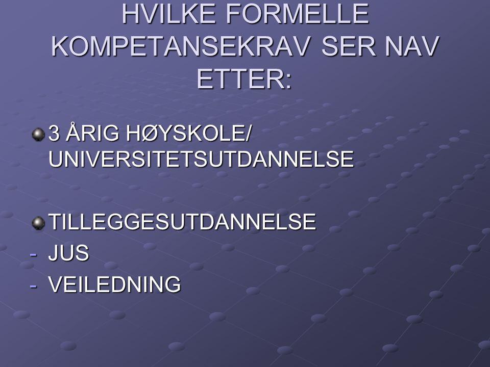 HVILKE FORMELLE KOMPETANSEKRAV SER NAV ETTER: 3 ÅRIG HØYSKOLE/ UNIVERSITETSUTDANNELSE TILLEGGESUTDANNELSE -JUS -VEILEDNING