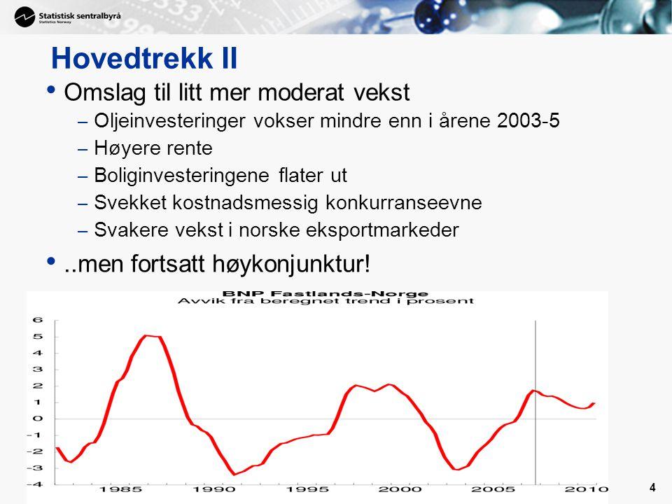 4 Hovedtrekk II Omslag til litt mer moderat vekst – Oljeinvesteringer vokser mindre enn i årene 2003-5 – Høyere rente – Boliginvesteringene flater ut – Svekket kostnadsmessig konkurranseevne – Svakere vekst i norske eksportmarkeder..men fortsatt høykonjunktur!