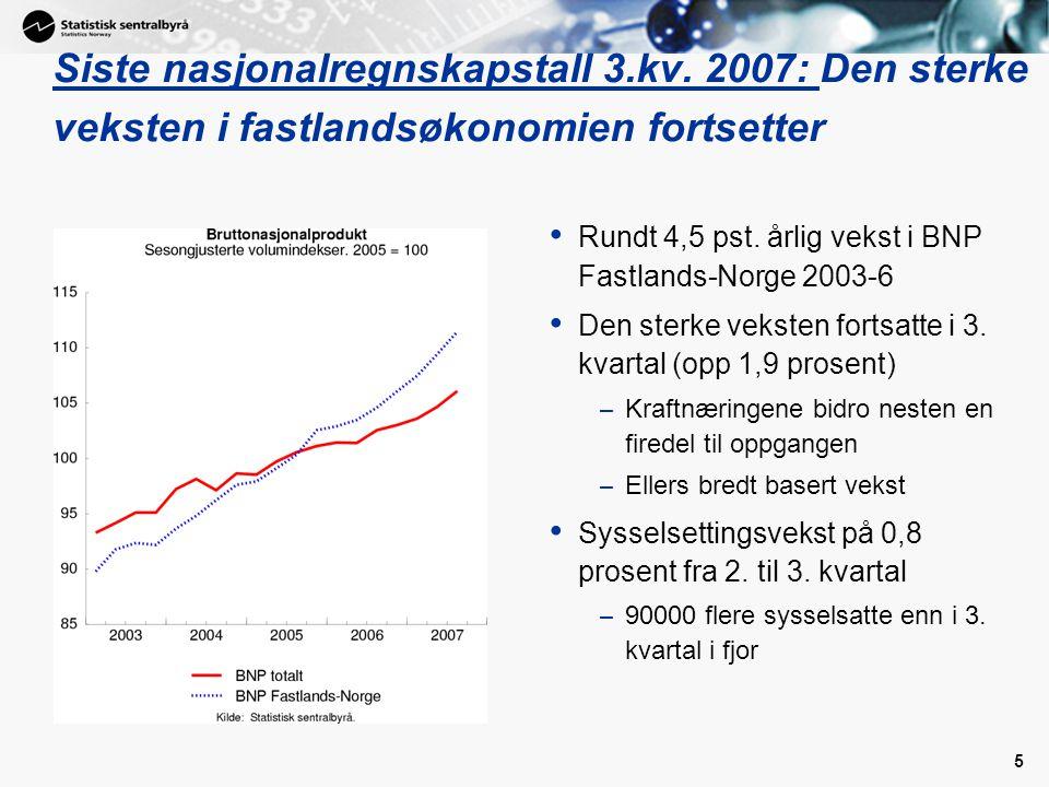 5 Siste nasjonalregnskapstall 3.kv. 2007: Den sterke veksten i fastlandsøkonomien fortsetter Rundt 4,5 pst. årlig vekst i BNP Fastlands-Norge 2003-6 D
