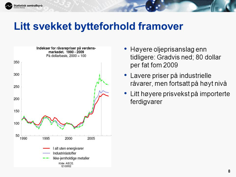 8 Litt svekket bytteforhold framover Høyere oljeprisanslag enn tidligere: Gradvis ned; 80 dollar per fat fom 2009 Lavere priser på industrielle råvarer, men fortsatt på høyt nivå Litt høyere prisvekst på importerte ferdigvarer