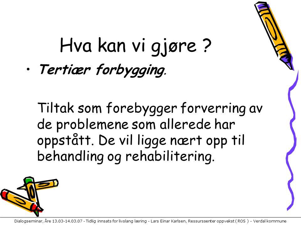 Dialogseminar, Åre 13.03-14.03.07 - Tidlig innsats for livslang læring - Lars Einar Karlsen, Ressurssenter oppvekst ( ROS ) - Verdal kommune Hva kan vi gjøre .