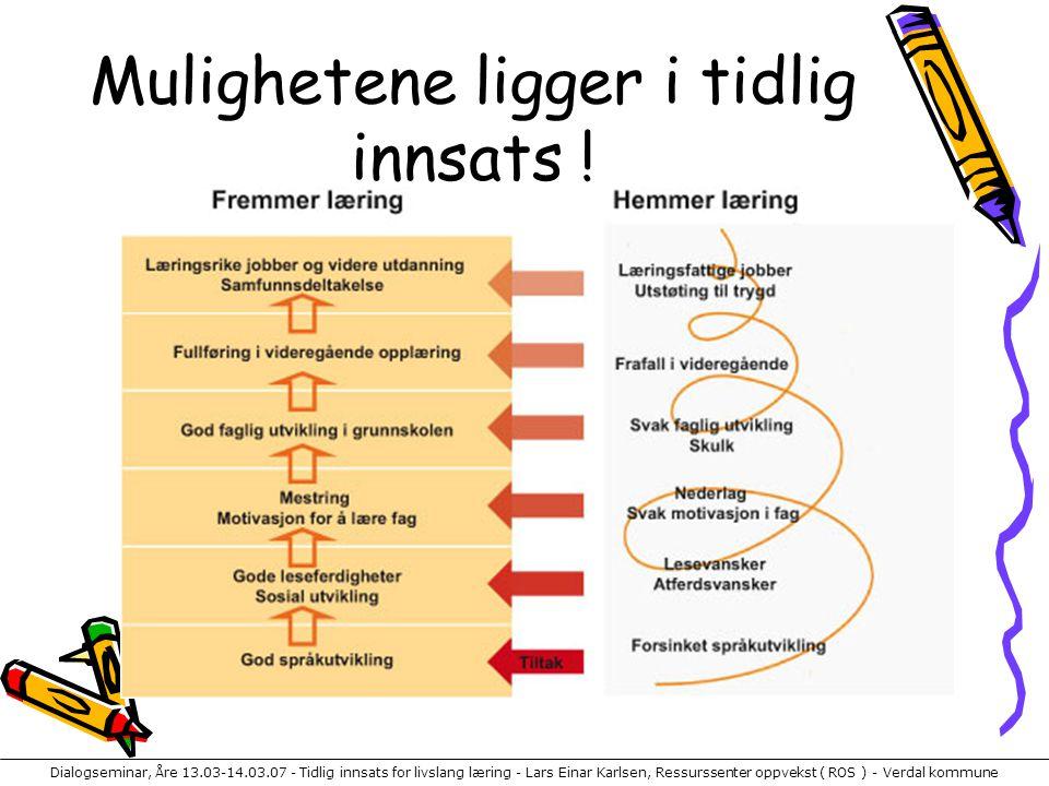 Dialogseminar, Åre 13.03-14.03.07 - Tidlig innsats for livslang læring - Lars Einar Karlsen, Ressurssenter oppvekst ( ROS ) - Verdal kommune Mulighetene ligger i tidlig innsats !