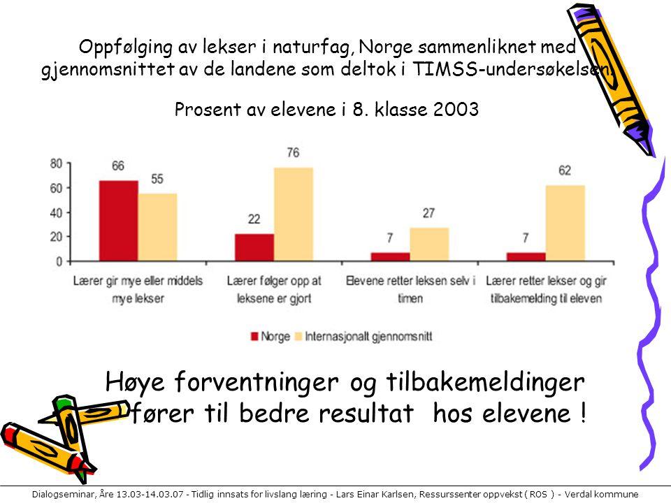 Dialogseminar, Åre 13.03-14.03.07 - Tidlig innsats for livslang læring - Lars Einar Karlsen, Ressurssenter oppvekst ( ROS ) - Verdal kommune Oppfølgin
