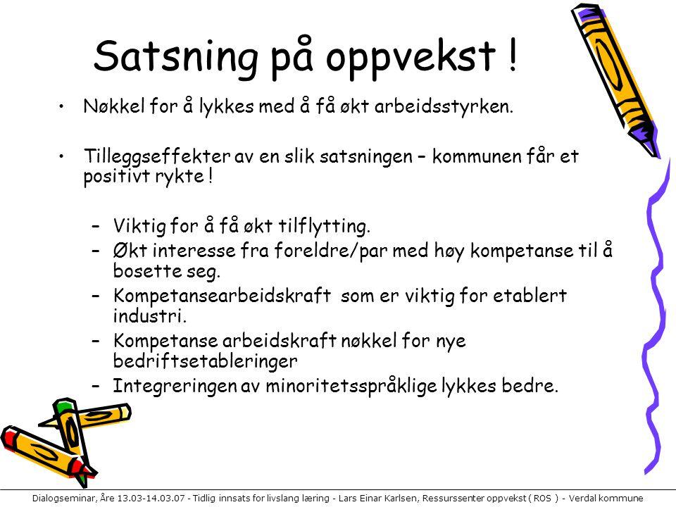 Dialogseminar, Åre 13.03-14.03.07 - Tidlig innsats for livslang læring - Lars Einar Karlsen, Ressurssenter oppvekst ( ROS ) - Verdal kommune Satsning på oppvekst .