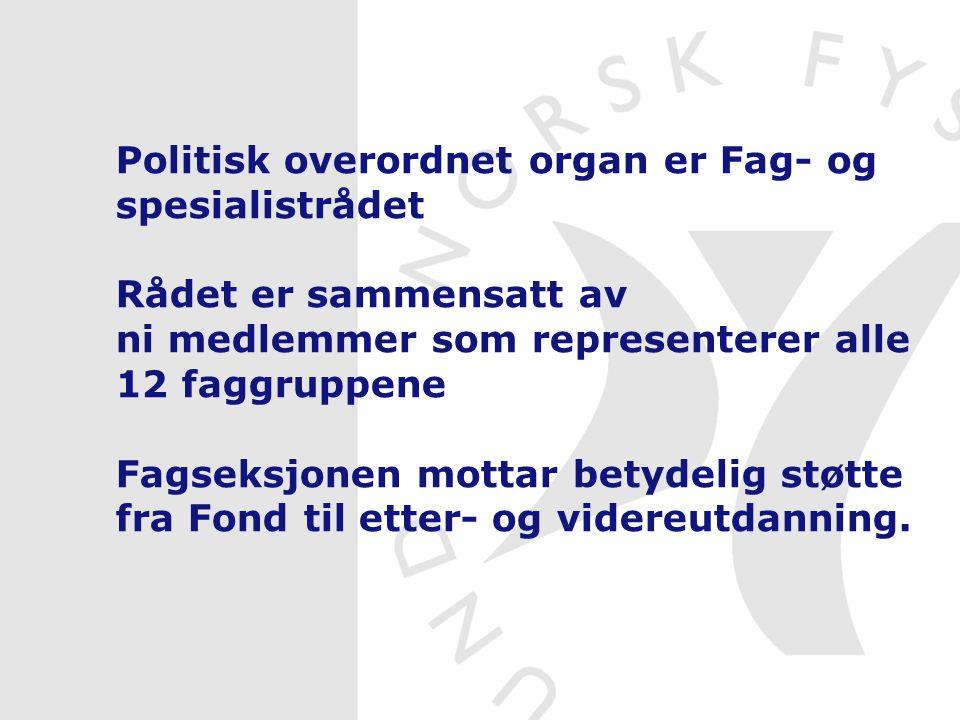 Politisk overordnet organ er Fag- og spesialistrådet Rådet er sammensatt av ni medlemmer som representerer alle 12 faggruppene Fagseksjonen mottar bet