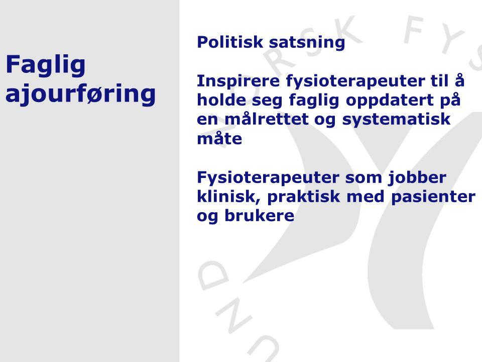 Faglig ajourføring Utvikle Informasjonssiden Utvikle og prøve ut Ajourføringsregister Oppstart av kursrekke for privat praksis Utvikle opplegg for nettverksgrupper Evaluering før Rep.møtet 2007