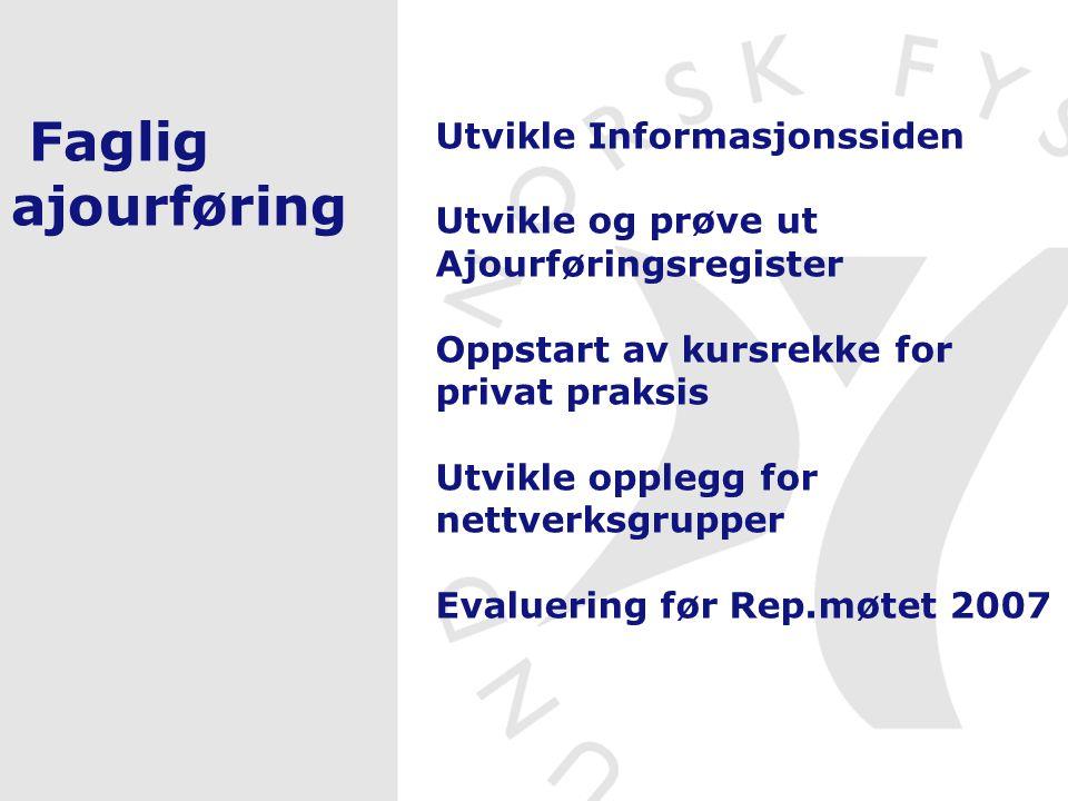 Faglig ajourføring Utvikle Informasjonssiden Utvikle og prøve ut Ajourføringsregister Oppstart av kursrekke for privat praksis Utvikle opplegg for net