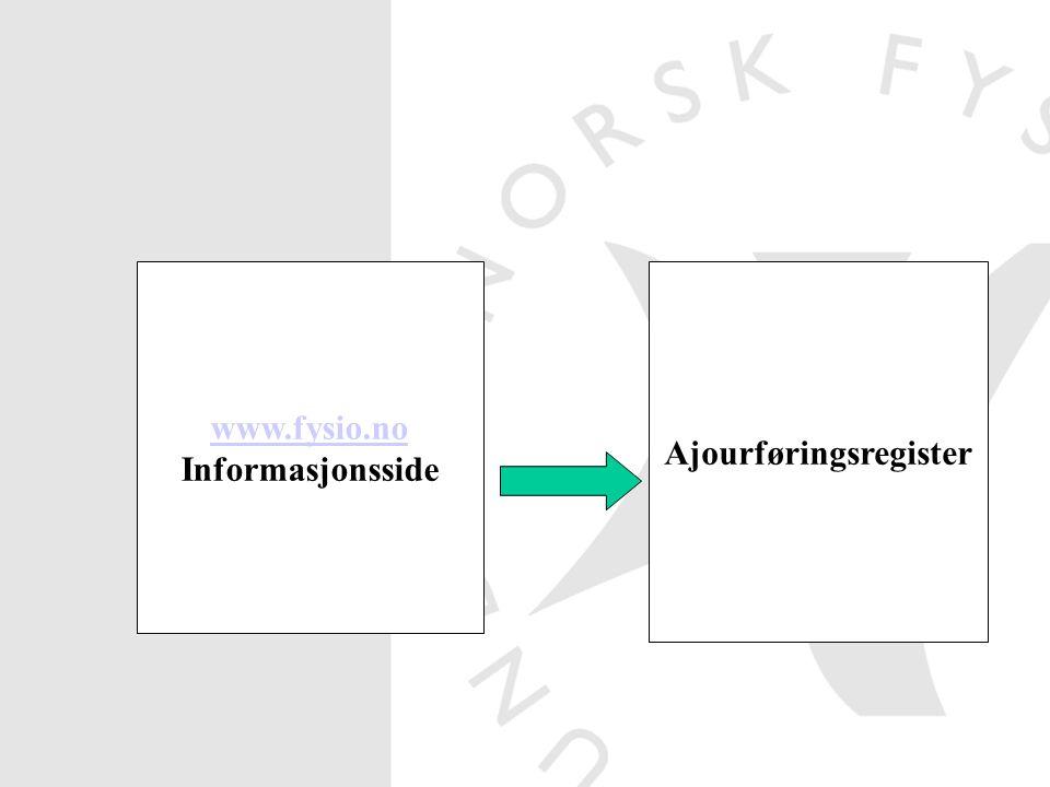 www.fysio.no Informasjonsside Ajourføringsregister