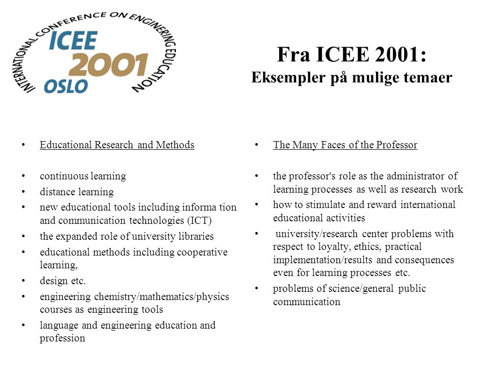 Fra ICEE 2001: Eksempler på mulige temaer Educational Research and Methods continuous learning distance learning new educational tools including informa tion and communication technologies (ICT) the expanded role of university libraries educational methods including cooperative learning, design etc.