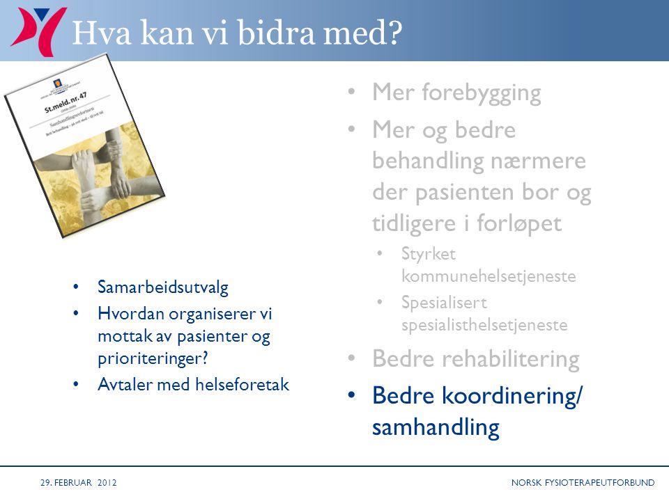 NORSK FYSIOTERAPEUTFORBUND Hva kan vi bidra med.