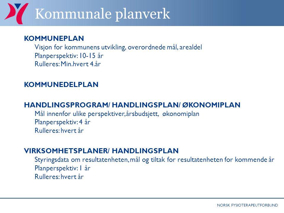 NORSK FYSIOTERAPEUTFORBUND Kommunale planverk KOMMUNEPLAN Visjon for kommunens utvikling, overordnede mål, arealdel Planperspektiv: 10-15 år Rulleres: Min.hvert 4.år KOMMUNEDELPLAN HANDLINGSPROGRAM/ HANDLINGSPLAN/ ØKONOMIPLAN Mål innenfor ulike perspektiver, årsbudsjett, økonomiplan Planperspektiv: 4 år Rulleres: hvert år VIRKSOMHETSPLANER/ HANDLINGSPLAN Styringsdata om resultatenheten, mål og tiltak for resultatenheten for kommende år Planperspektiv: 1 år Rulleres: hvert år